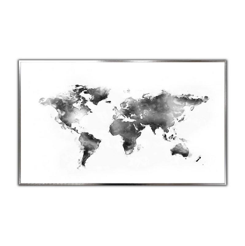 STEINFELD® Glas Infrarotheizung mit Motiv Weiße Weltkarte