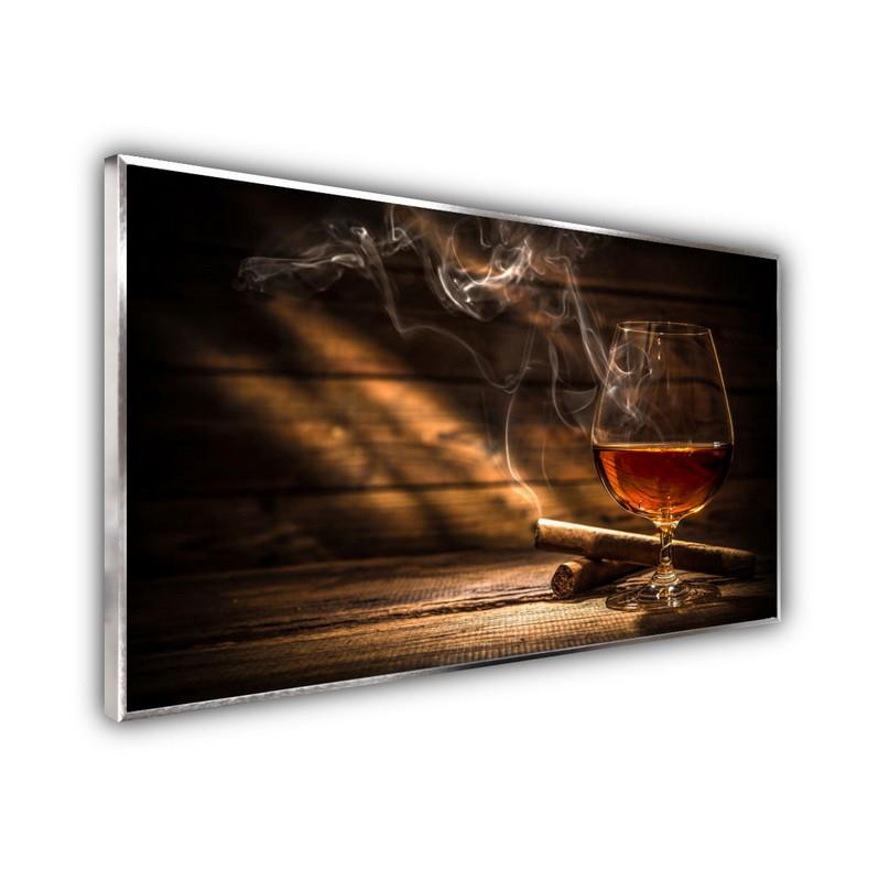 STEINFELD® Glas Infrarotheizung mit Motiv Whisky Zigarren